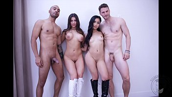 PORNSTARS ORGY party TWO gorgeous couples sharing hot swinger sex  party  real couples