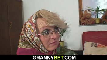 Old woman with glasses fucked in her pussy