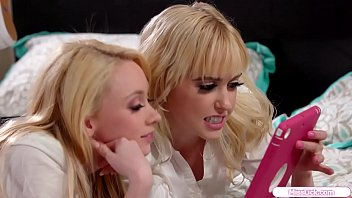 Teen Blonde And Her Classmate Are On The Bed Watching Lesbian Porn On Her Tabletthey Get Curious And They Want To Try What They Sawafter That They Start Kissing And She Licks Her Friends Pussyin Return Her Friend Does The Same To Her On The Bed thumbnail