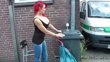 German Redhead Bitch with Big Boobs Fuck Old Stranger Men