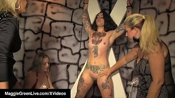 Mistresses Maggie Green & Carey Riley whip, tickle & rub a lovely submissive tied up slave, getting her to cum over and over for their pleasure!