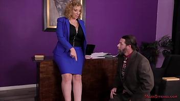 Sara Jay - Office Goddess Makes Her Employee Kiss Her Ass & Feet - Femdom