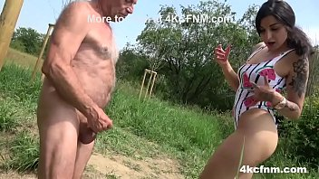 Old Perv gets Wanked in Nature
