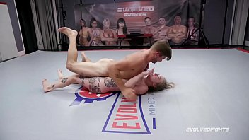 Naked Sex Wrestling battle with tattoo babe Kaiia Eve against Nathan Bronson c. on cock then rammed hardcore at Evolved Fights