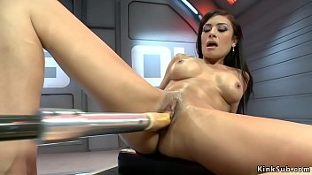 Watch Dark haired stunning babe with big tits Beretta James in shaved pussy shoves big dicks fucking machines and rides them in various positions preview