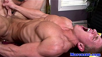 Dicksucking hunk banged while wanking cock