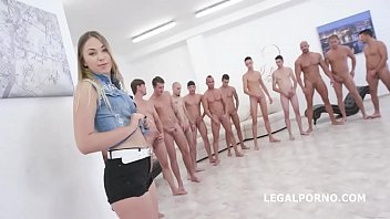 Tiny slut Selvaggia Vs 17 Monster cocks Gangbang   17 Messy Facial Cumshots!