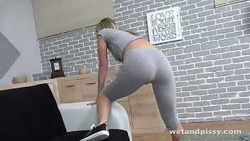 Masturbating to an explosive squirting orgasm
