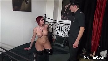 German Redhead Prostitute Catch and blackmail to Fuck with Policemen and other Stranger