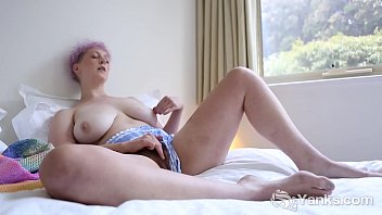 Sexy babe from Yanks Vera Blue fingering her hairy twat to orgasm