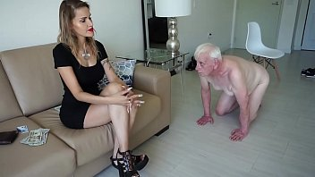 Bad mistress bewitches an old man and humiliates him forcing him to walk all on fours