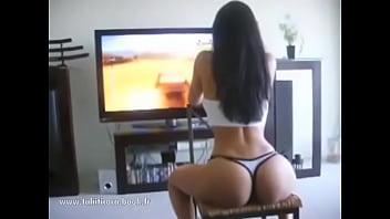 Girl fucks in yoga pants visible thong cfnm