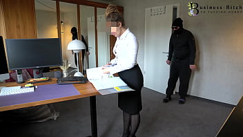 hot office clerk caught and taken from behind - rough office fuck