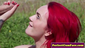 Busty british redhead cocksucking outdoors