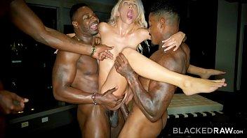 BLACKEDRAW Kinky Blonde Craves Three Big Black Cocks NOW