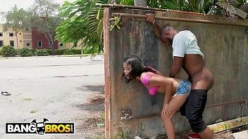 BANGBROS - Young Black Pornstar Wrecked Outdoors By Random Men