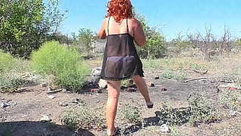 Milf took a walk in nature and found a blowjob and sex with a fat guy's cock