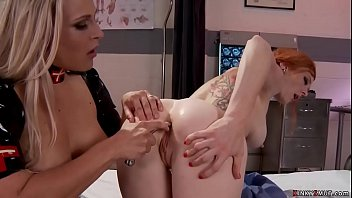 Big boobs blonde MILF lesbian domme nurse in latex Angel Allwood anal toys and examines redhead patient Audrey Hollander then gets anal fucked
