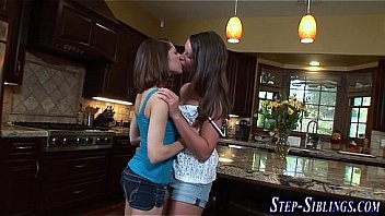 Stepsister teen lesbians finger and eat out cunts in kitchen