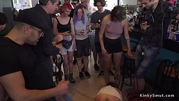 Brunette slave made to suck cocks and rim guys ass before fucks big dick in crowded bar - Awesome slave Mp4 clips Thumbnail
