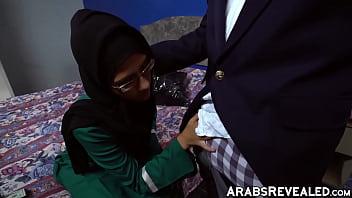Beautiful Arab cutie sucking two cocks Thumbnail