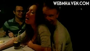 Chick Getting Groped at a Bar and Enjoys It