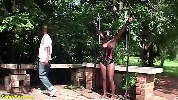 big boob african fetish girl gets rough whipped and reward her big dick step brother with a deep blowjob