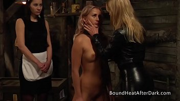 Young Lesbian Slave Tied Up And Whipped By Her Dominant Madame