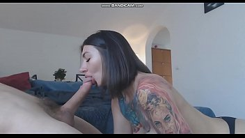 Cute brunette with tattoo doing blowjob on cam - watch more on https://bit.ly/2YbImhd