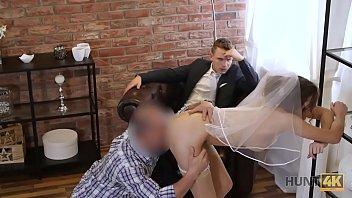 HUNT4K. Beauty in bride dress sucks strangers cock and gets fucked