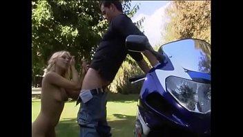 Sexy blonde pornstar gets cum covered after bike journey