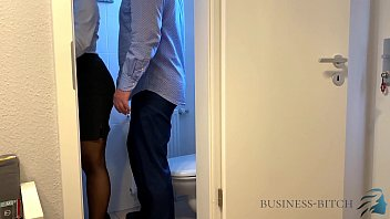 boss caught me on the office restroom - sex without condom creampie impregnation