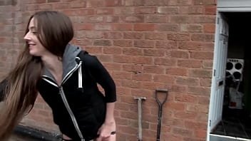 Slim long haired brunette amateur teen pissing in public places