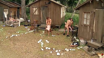 Southern Country Style Outdoor Orgy. Peasant Girls Ass Fucked, Throated & Gagging on Cock