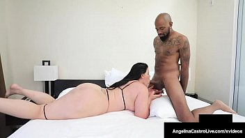 Big Booty BBW Angelina Castro sucks, strokes & mouth fucks a big black cock until she busts that black nut all over her mouth & hands! Full Video & Angelina Live @ AngelinaCastroLive.com!