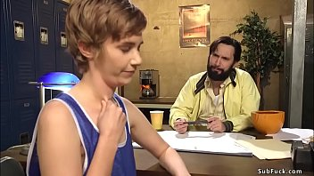 Basketball coach Tommy Pistol rough bangs hairy pussy short haired brunette journalist Mercy West then with players double penetration bangs her