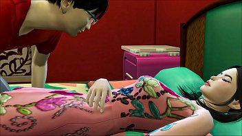 Teen japanese couple fucking hard in his sisters' bedroom
