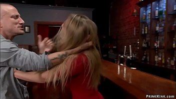 Hot ass blonde babe AJ Applegate in tight red dress is dominated by owner of bar Mr Pete and rough throat and anal banged till gets cumshot