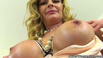 British milf Caz wears a leather dress and kicks her masturbation habits up a notch in fishnet tights. Bonus video: UK milf Elegant Eve.