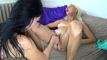 Nice skinny granny and girl using dildo to masturbation