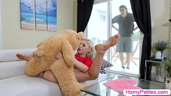 Stepbro caught his stepsister fucking stuff toy on the couch and he then records it.After that,they made a deal,if she let him fuck her he will delete the video.She starts sucking his big cock and lets him fuck her wet pussy so hard.