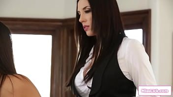 Busty teacher teaches her petite latin student a lesson.She spanked and is facesitted by the big tits milf.Then she fingers the coed until she squirts