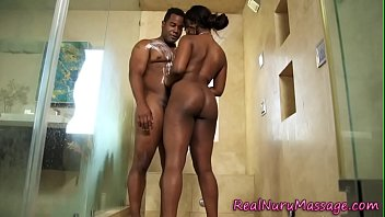 Ebony masseuse plunged