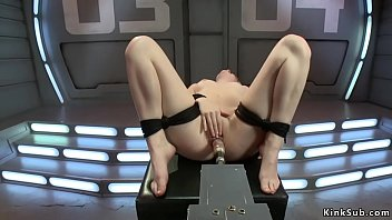 Watch Tied legs solo brunette babe Dolly Leigh takes fucking machine in cunt then in doggy bondage position machine fucked and clit vibrated preview