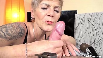 Granny Igna is wild and crazy with tattoos and years of cock jerking experience. She give my big dick a granny handjob and she wont stop until I blow my load all over myself.