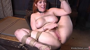 Huge tits redhead slave gets pussy banged by huge dick master trainer