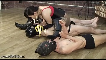 Japanese dominatrix makes a slave swallow spit and food