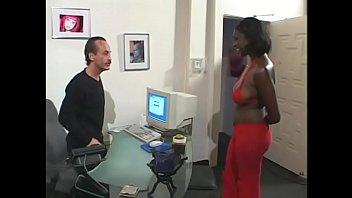 Pretty ebony chick Malaisah has job interview as secretary for aged white man