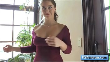 Sexy cutie girl play with her natural big boobs and reveal her sexy ass