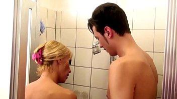 Blonde milf sucks and fucks in shower